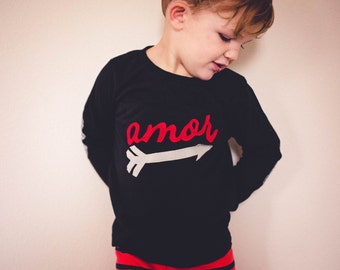 "Boy Swanky Shank ""Amor"" Long sleeved Tee with optional Elbow Patches"