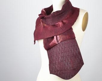 Merino Wool Felted Scarf - Nuno Felted Scarf - Felted Scarf - Silk - Nuno - Felted - Gift -  Burgundy - Women's Scarves