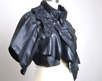 OOAK Leather Cape - Leather Cape Poncho - Leather Caplet - Women's Leather Cape - Women's Leather Clothing