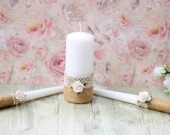 Burlap and Lace Wedding Unity Candle Set, Rustic Wedding Unity Candles, Bride and Groom Unity Candles