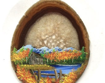 Hand Painted Brazilian Agate Mountain Fall Cabin