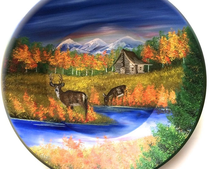 Hand Painted 11 Inch Gold Pans Mountain Fall Cabin and Deer