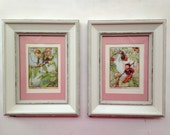 Framed Vintage 1930s Flower Fairy Colour Plate Illustrations Mulberry/Beech Fairy