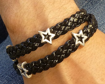 Braided Leather Bracelet, Silver Star Bracelet, Black and Silver Bracelet, Leather Wrap Bracelet, Silver Star Bracelet, Star Jewelry