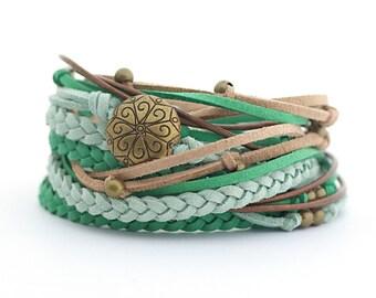 Color of the 2017 GREENERY Emerald Jade Green Boho Wrap Bracelet, Green Brown Women Bracelet, Gypsy Spirit, Hippie Style, braided braceled