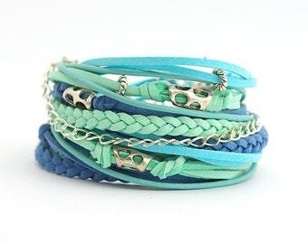 Mint Turquoise Cobalt Boho Wrap Bracelet, Blue Sky Arctic Bracelet, Cobalt Gypsy Bracelet, gift for her, double wrap, boho chic