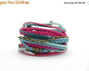 SALE Summer Bracelet, Ruby Fuchsia Wrap Bracelet, Purple Turquoise Boho bracelet, Denim Gypsy Bracelet, double wrap, boho chic