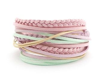 Pastel Colors Boho Wrap Bracelet, Mint Lilac Pink Cream Bracelet, Simple Women Bracelet, gift for her, boho chic
