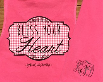 Bless Your Heart Tank - Monogram Comfort Colors Tank - Bless Your Heart Monogrammed Tank - Monogrammed Tank - Southern Girls Collection©