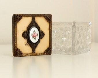 Fostoria American Square Dresser Puff Box with Hand Enameled Lid, aka Sugar Cube — rare