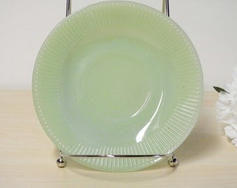Jadeite Ribbed Saucer - Fire King Jane-Ray, Vintage 1950s, Tea Cup Green Plate, Kitchenware  / Mid Century Retro Kitchen
