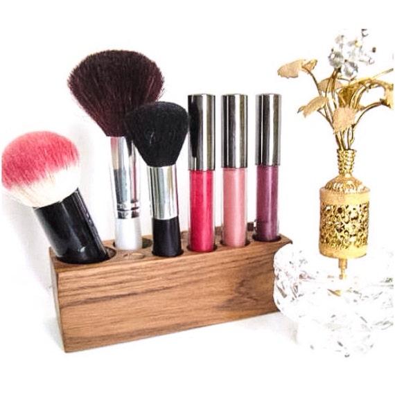 Makeup Brush Organizer Teak Wood