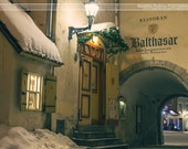 Travel decor, print of snowy streets in medieval old town of Tallinn at night, Tallinn, Estonia, Christmas city lights fortress towers