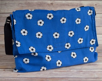 Blue football messenger, school book bag, messenger bag, cross body messenger, gift for boys, gift for girls, teenagers gifts, teachers gift
