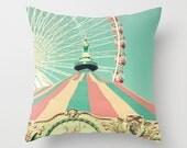 Pillow cover, turquoise pillow, aqua pillow, red pillow, ferris wheel, kids art, nursery art, mint pillow, spring decor, carousel pillow
