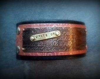 Leather Cuff, Etched Copper, Stamped Brass, a gift for writers...by Recreate4U