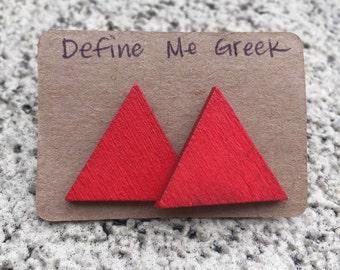 Red Delta Triangle Wood Stud Earrings