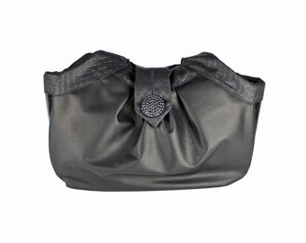 "Black Leather Hobo Handbag, Large Shoulder Bag, Birdbags ""Puffin"" Purse"