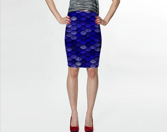 Blue Mermaid Scales Fitted Skirt, High waisted Mermaid Skirt, Bodycon skirt, Made to Order Skirt