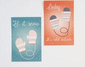 Digital / Printable mittens christmas postcards
