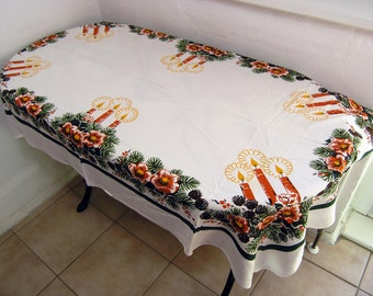 Vintage Christmas Tablecloth, Christmas Holiday Tabelcloth, Christmas Candles, Bows and Pine Leaves Tablecloth