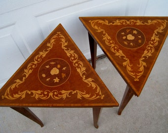 Vintage Marquetry Inlay Italian set of side tables made in Italy triangle shape matching pair