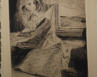 Vintage etching two woman reading signed p. gluckman ca 1967
