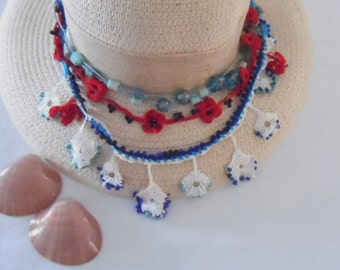 Colorful crochet  necklace, amuledglas beads necklace, lace necklace, authentic necklace, beadet necklace..