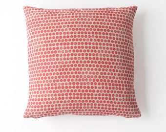 Sample Sale! Dot Block Print Pillow in Coral