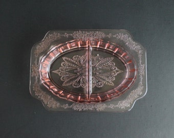 Vintage Pink Depression Glass Divided Relish Plate Adam Pattern By Jeannette Glass Company