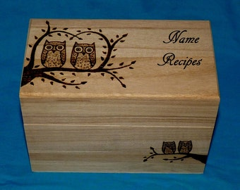 Decorative Wood Burned Wedding Recipe Card Box Rustic Wooden Owl Recipe Box Wedding Tree Personalized Wood Box Carved Love Birds