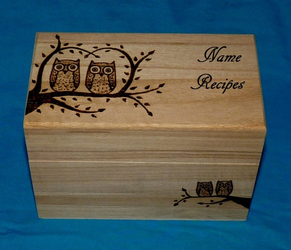 Decorative Recipe Box Entrancing Decorative Recipe Box Personalized Wood Burned Recipe Card Inspiration