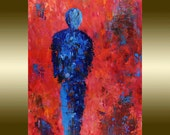 Oil painting Red Painting Contemporary Decor Art  palette knife