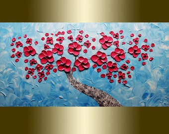 Oil painting red flower Blooming Tree landscape painting Acrylic painting Surreal Heavy Palette Knife