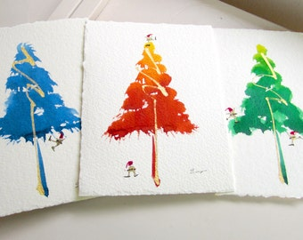 Hand-Painted Greeting Card Set. Pack of 6. Elfs and a colorful Christmas Tree. One of a Kind Watercolor. Great Christmas Gift
