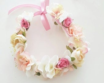 Fairy tale pastel colour flower crown for flower girl | baby photo props| Soft pink and peach colour hydrangea flower crown | floral circlet