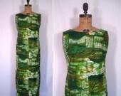 1960s green tropical island print dress • 60s hawaiian maxi dress • vintage quiet village gown