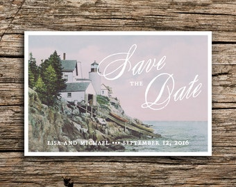Antique Lighthouse Save the Date Postcard // Maine Save the Date Light House Save the Dates Seaside Wedding Massachusetts Nautical Romantic