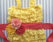 Baby Girls Lace romper, yellow lace romper set, coral yellow sunshine baby outfit-yellow sunshine 1st birthday outfit-cake smash outfit