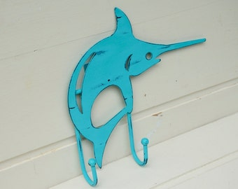 Metal Fish Hanger for Beach House Decor Nautical Decor Turquoise Blue-Green SwordFish Hanger
