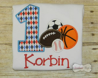 Sports Themed Birthday Embroidered Shirt or Bodysuit