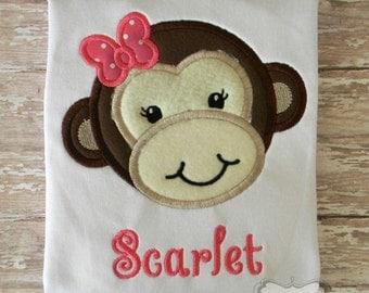 Girly Monkey Embroidered Shirt or Bodysuit