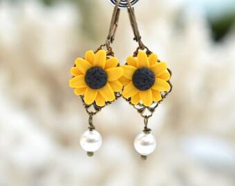 Golden Yellow Sunflower and Pearls Earrings. Sunflower Statement Earrings.