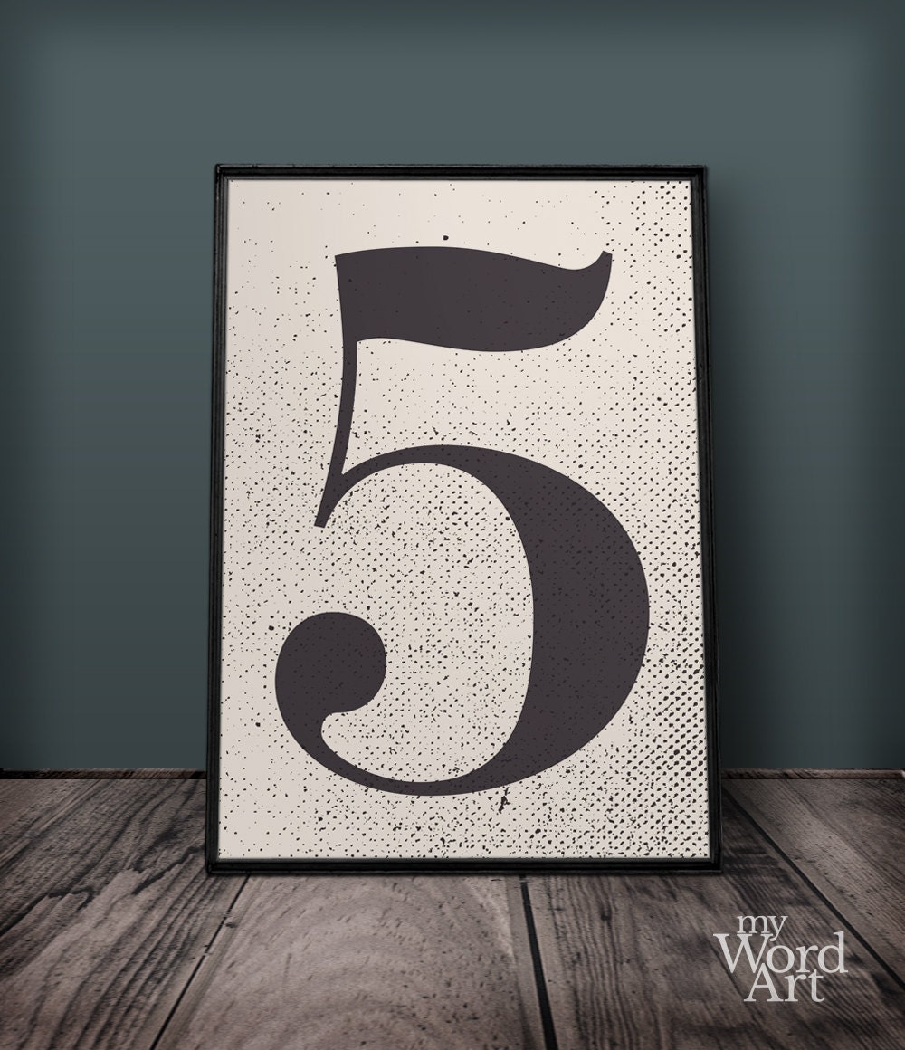 Number 5 print number five wall art number wall decor for Number 5 decorations