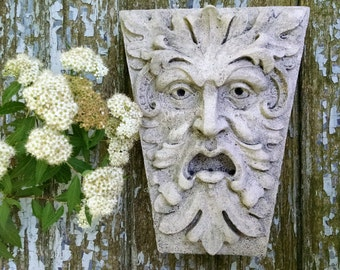 Green Man, Newbury Street, Keystone leaf face, greenman, Garden art, Renaissance element, medieval sculpture, gothic Boston, Chalifour