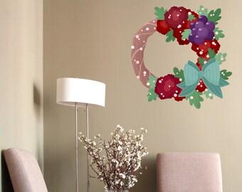 Winter Wreath Printed Wall Decal- Winter Wall Decal, Wreath Decal, Winter Wall Decor, Holiday Wall Decal, Winter Door Wreath