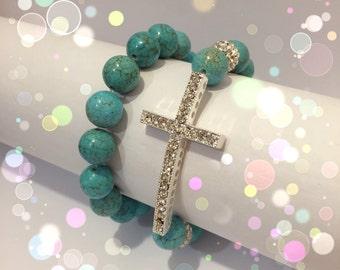 2 pc Silver Swarovski Cross Turquoise Bracelet Set