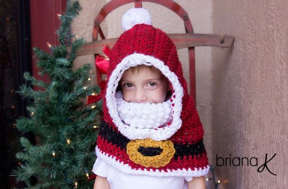 Santa Hooded Cowl PATTERN - Christmas, Holiday, Instant ...