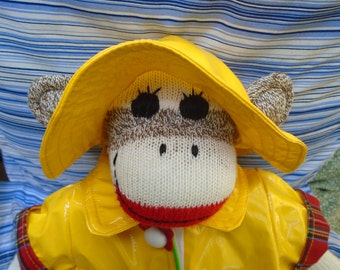 Singing In The Rain Traditional Brown Sock Monkey Doll With Macintosh And Rain Hat