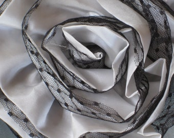 Extra Large Fabric and Lace Rose Flower Pin, Brooch - Black & Silvery White - Vintage Style Millinery, Accessory, Supplies